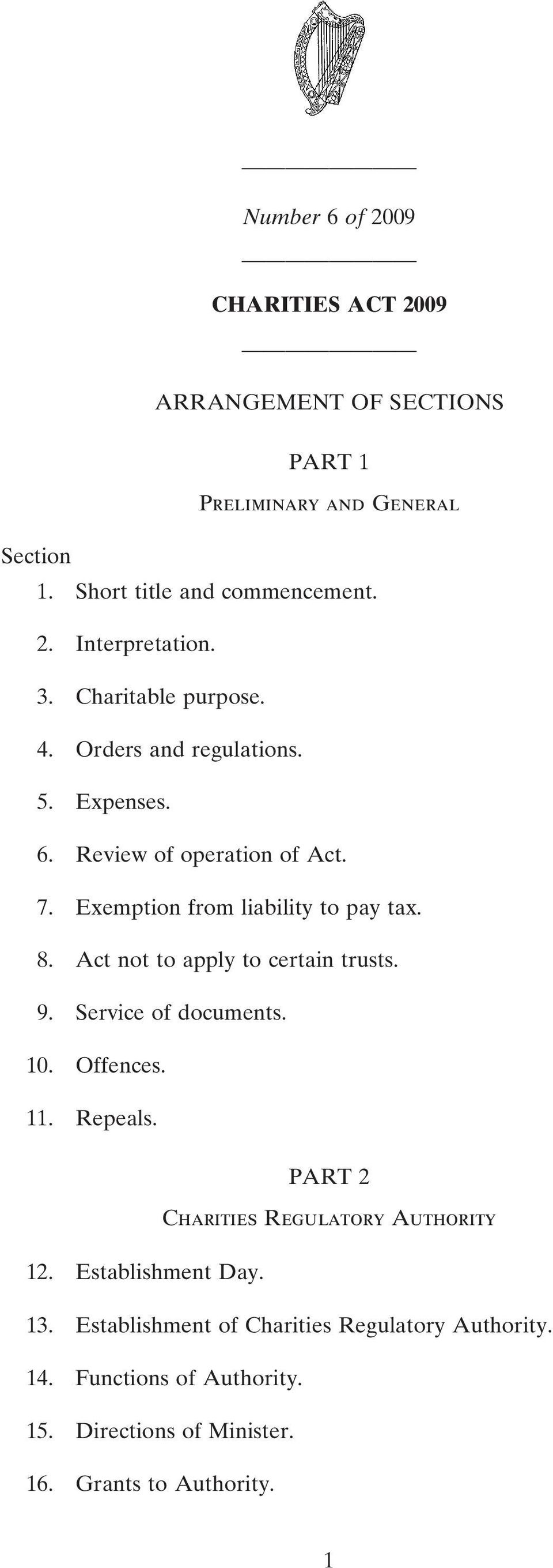 Act not to apply to certain trusts. 9. Service of documents. 10. Offences. 11. Repeals. PART 2 Charities Regulatory Authority 12.