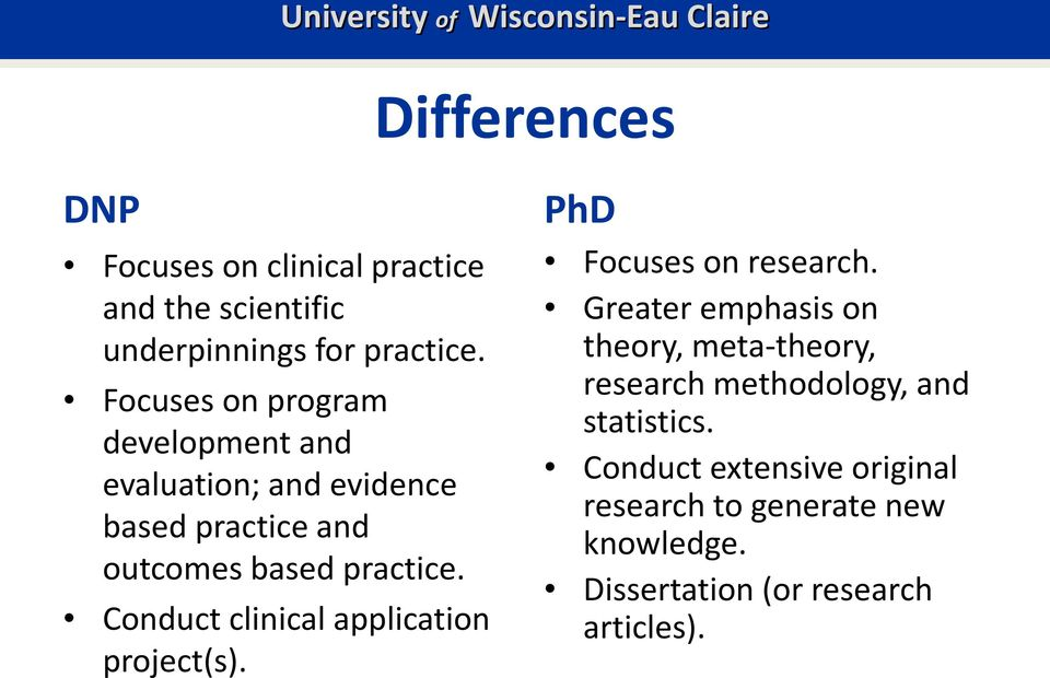 Conduct clinical application project(s). PhD Focuses on research.