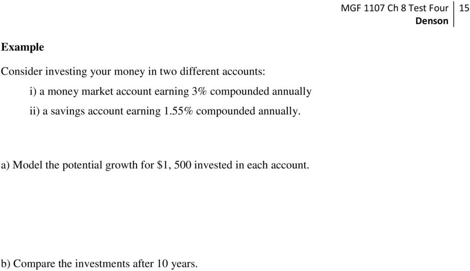 account earning 1.55% compounded annually.