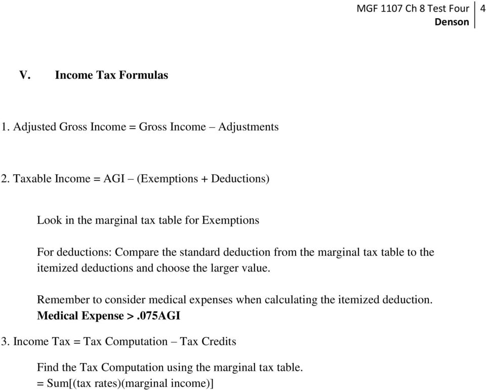 deduction from the marginal tax table to the itemized deductions and choose the larger value.