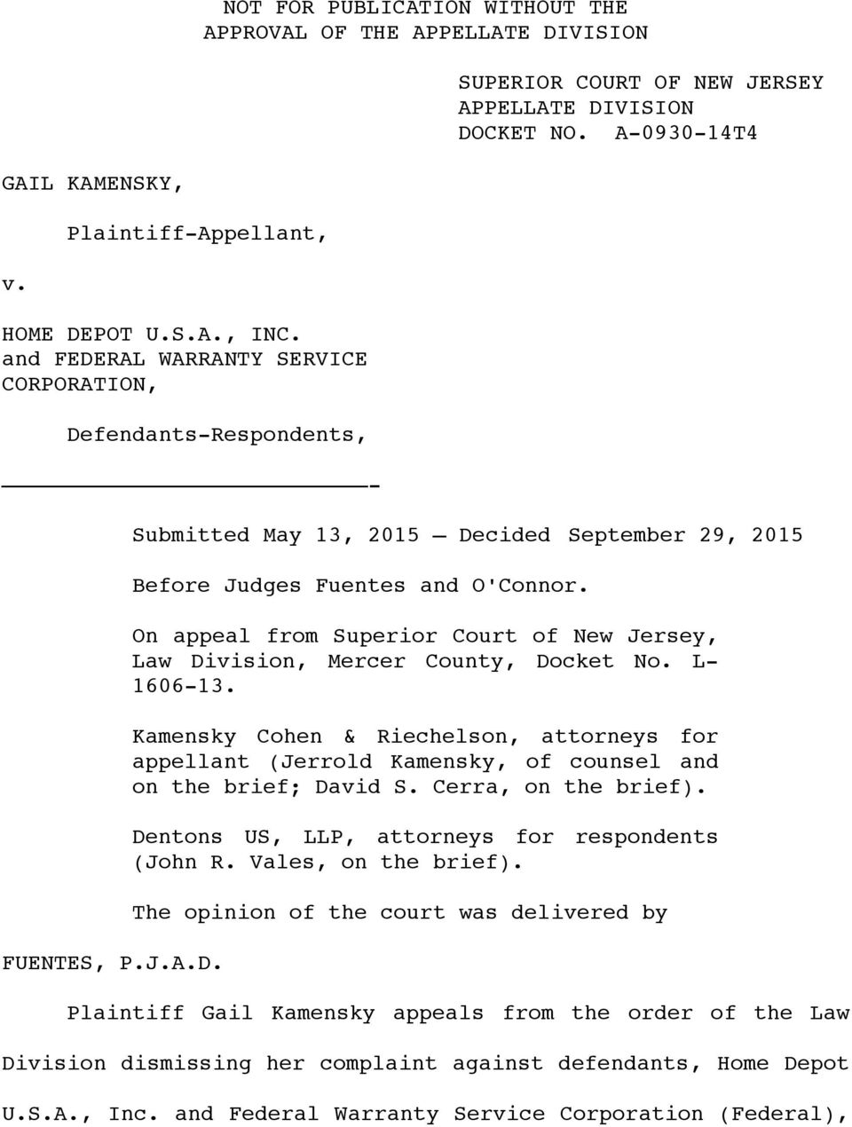 On appeal from Superior Court of New Jersey, Law Division, Mercer County, Docket No. L- 1606-13.