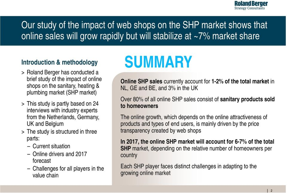 and Belgium > The study is structured in three parts: Current situation Online drivers and 2017 forecast Challenges for all players in the value chain SUMMARY Online SHP sales currently account for