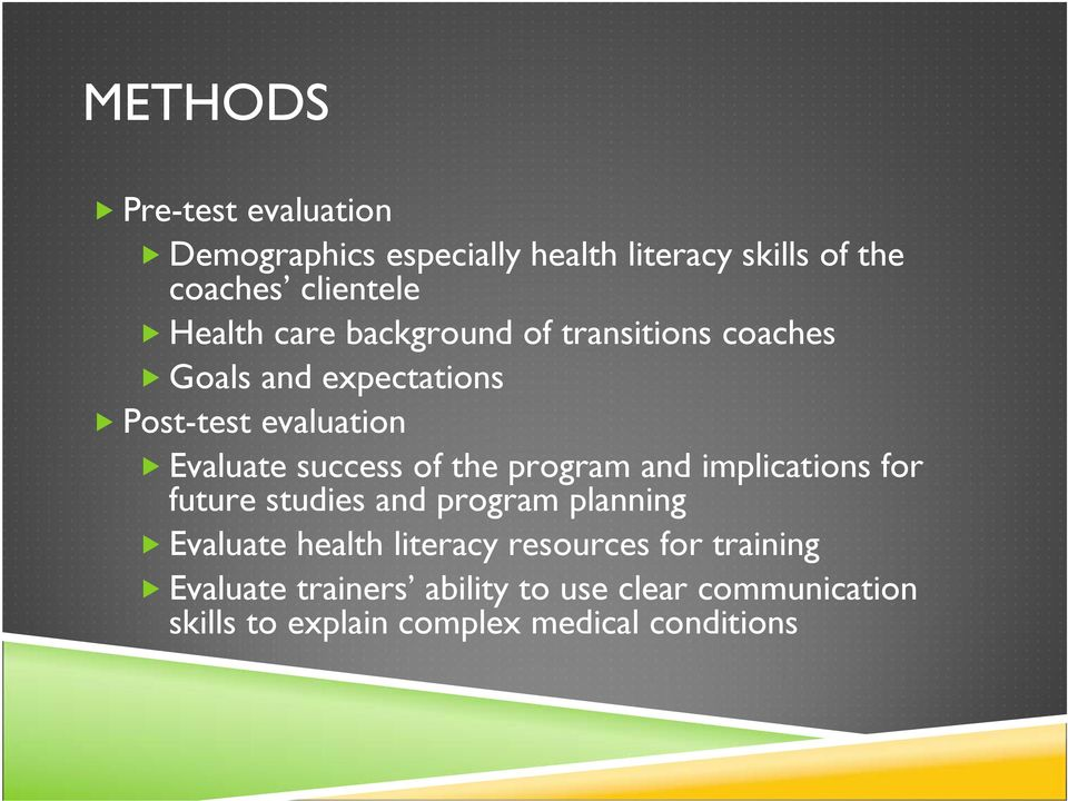 success of the program and implications for future studies and program planning Evaluate health literacy