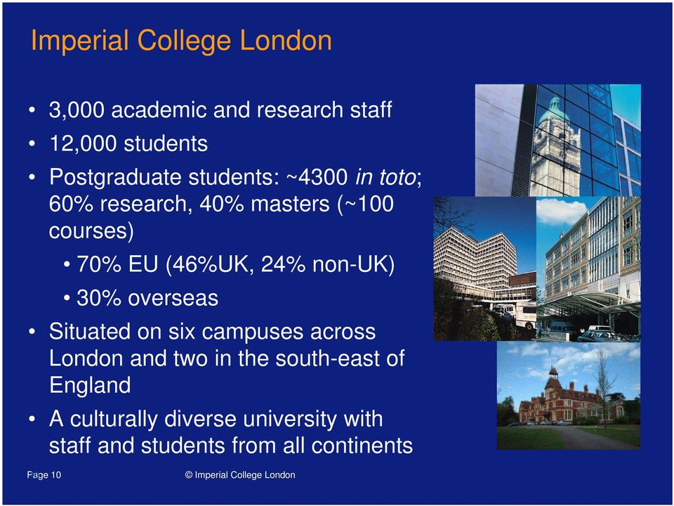 non-uk) 30% overseas Situated on six campuses across London and two in the south-east of
