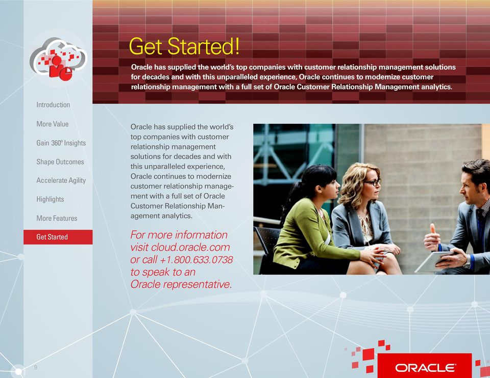 Oracle has supplied the world s top companies with customer relationship management solutions for decades and with this unparalleled experience, Oracle continues to