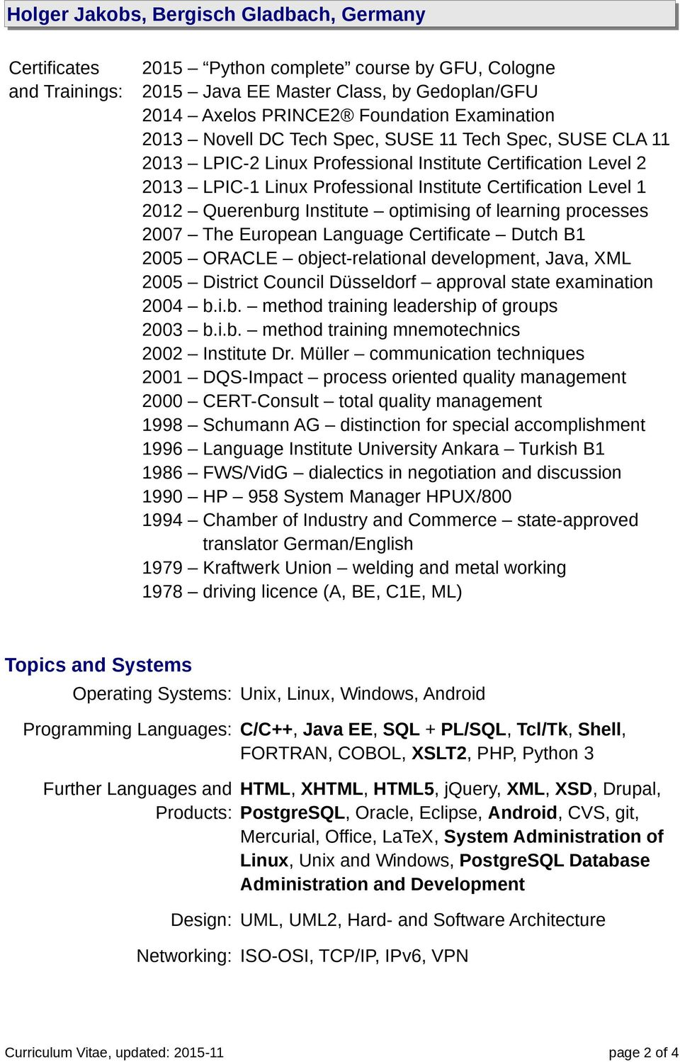 Institute optimising of learning processes 2007 The European Language Certificate Dutch B1 2005 ORACLE object-relational development, Java, XML 2005 District Council Düsseldorf approval state