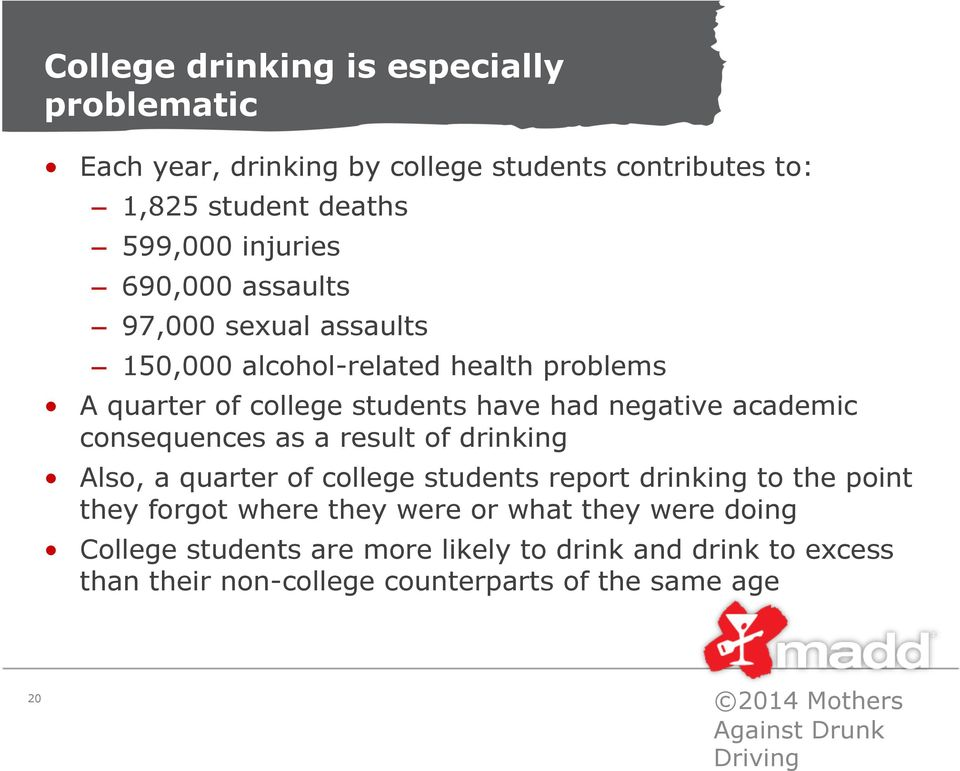 a result of drinking Also, a quarter of college students report drinking to the point they forgot where they were or what they were doing