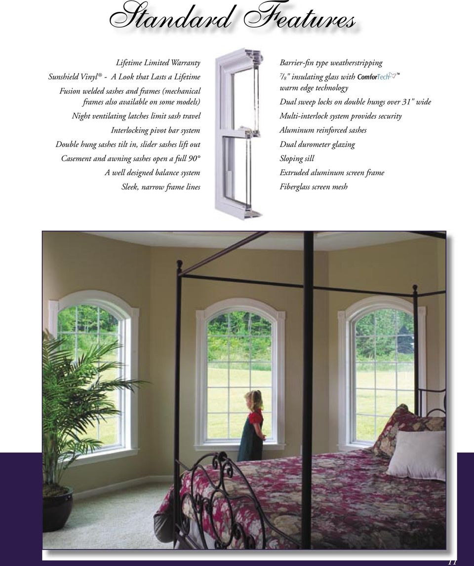 "designed balance system Sleek, narrow frame lines Barrier-fin type weatherstripping 7 /8"" insulating glass with warm edge technology Dual sweep locks on double hungs over 31"""