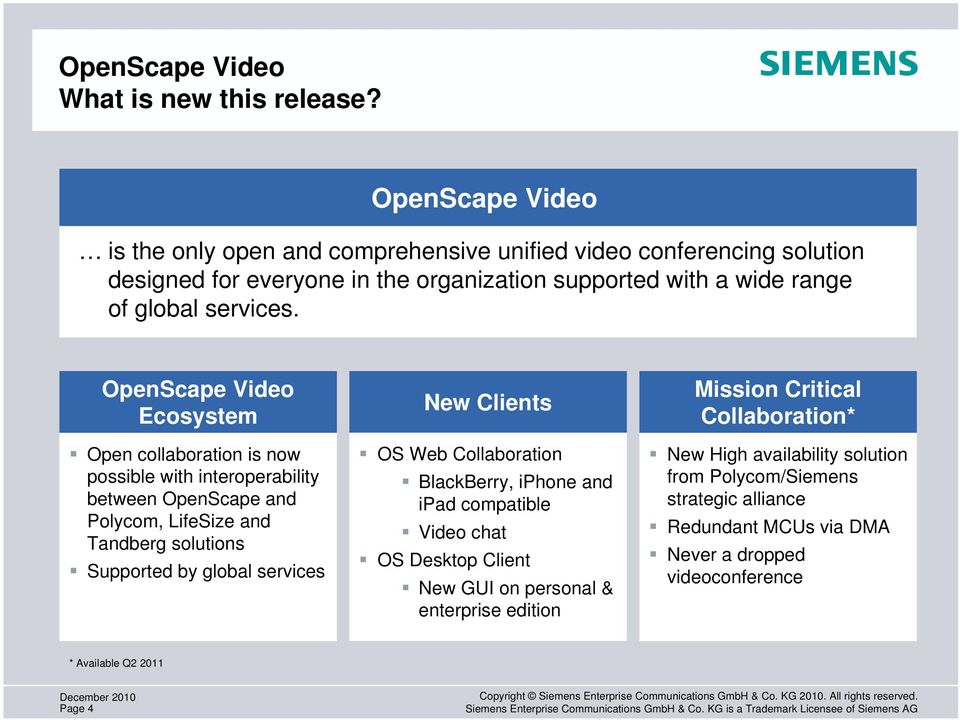 OpenScape Video Ecosystem Open collaboration is now possible with interoperability between OpenScape and Polycom, LifeSize and Tandberg solutions Supported by global services New