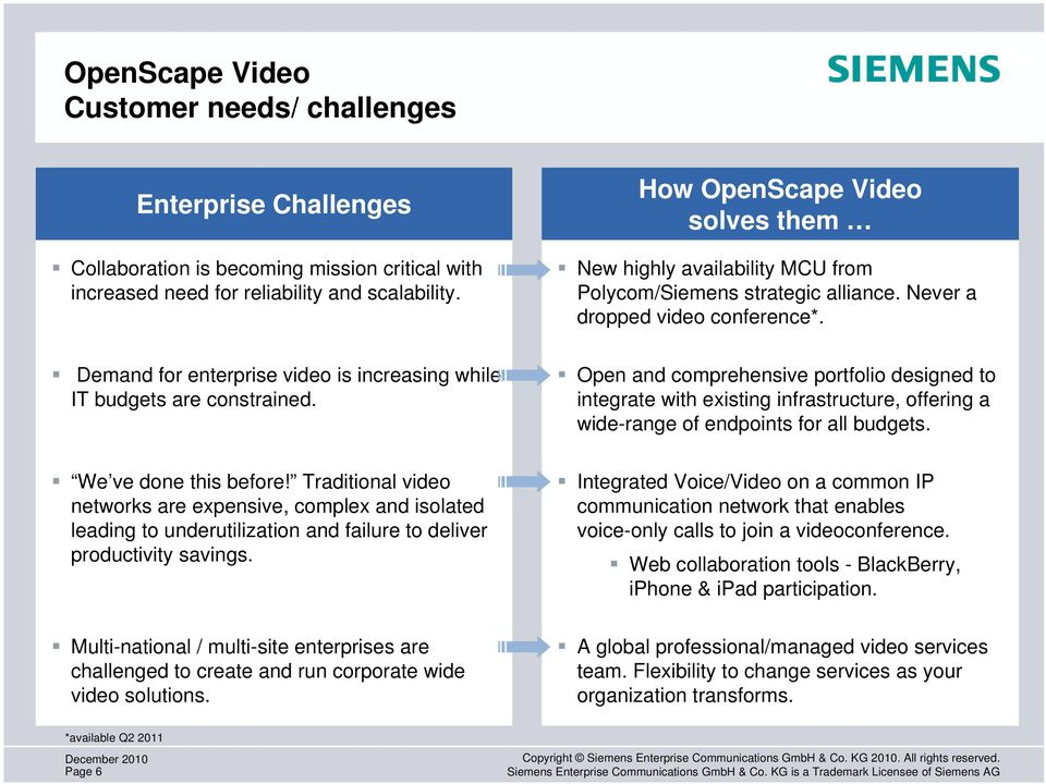 Demand for enterprise video is increasing while IT budgets are constrained.