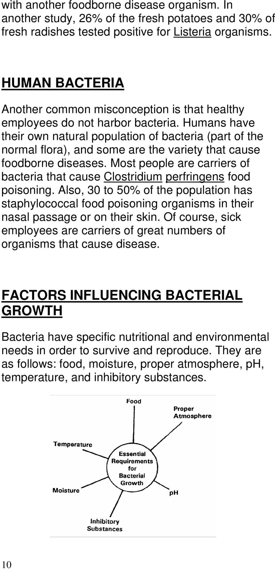 Humans have their own natural population of bacteria (part of the normal flora), and some are the variety that cause foodborne diseases.