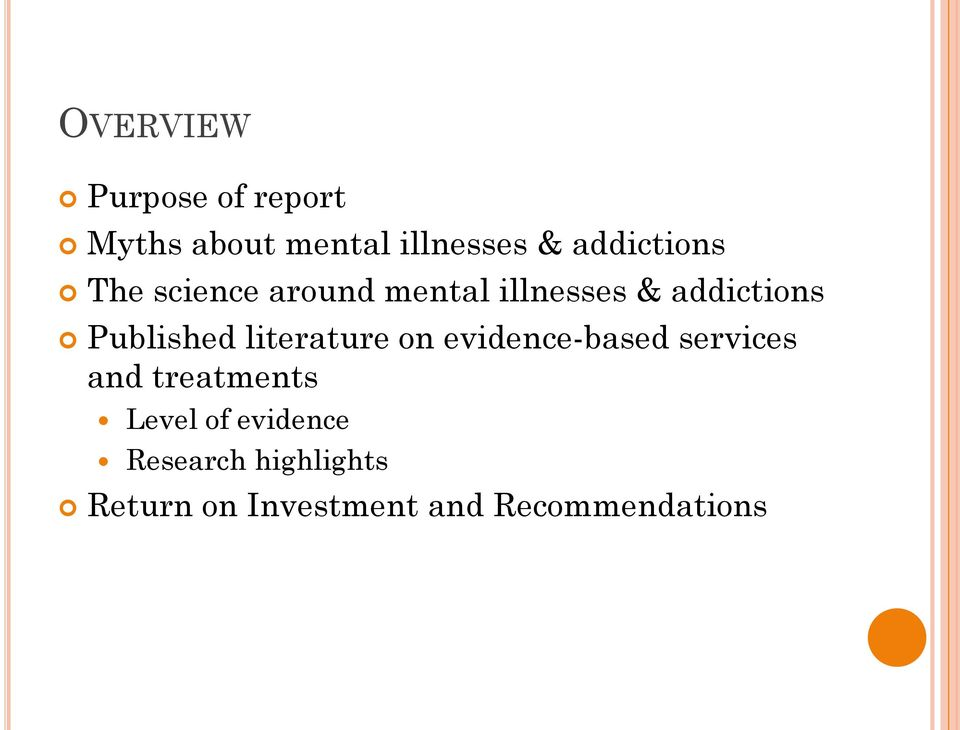 Published literature on evidence-based services and treatments