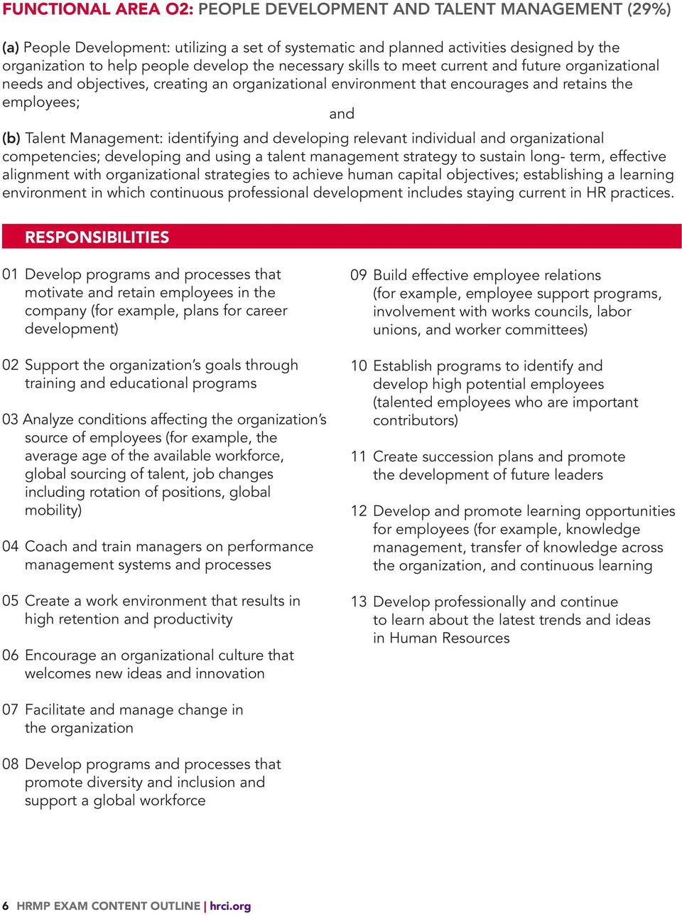 identifying and developing relevant individual and organizational competencies; developing and using a talent management strategy to sustain long- term, effective alignment with organizational