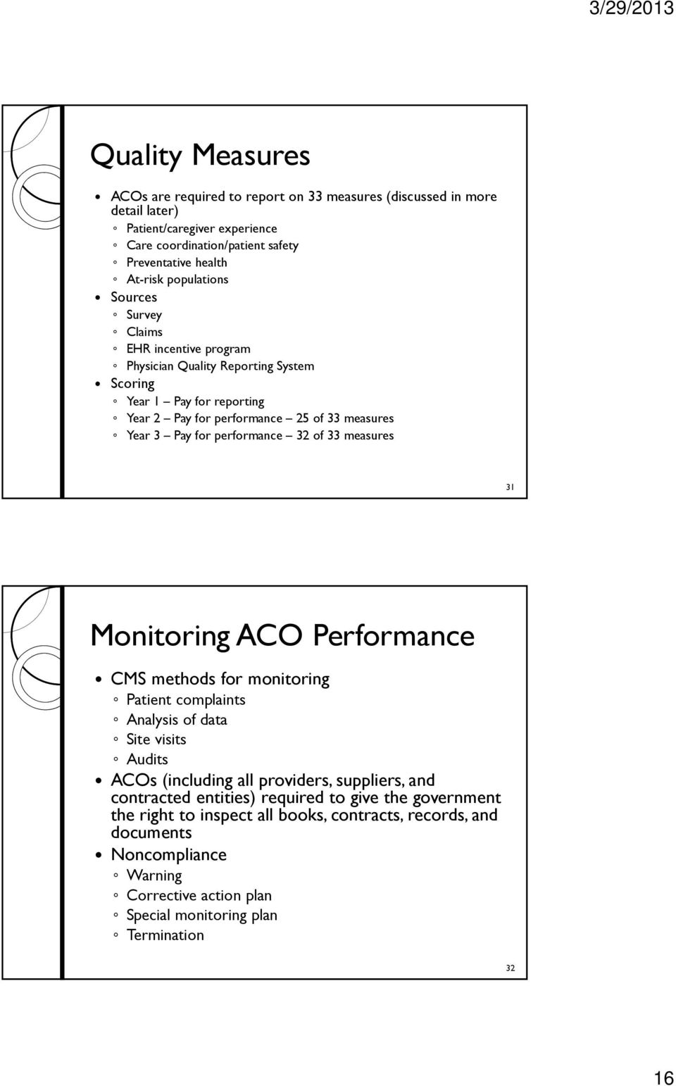 performance 32 of 33 measures 31 Monitoring ACO Performance CMS methods for monitoring Patient complaints Analysis of data Site visits Audits ACOs (including all providers, suppliers, and