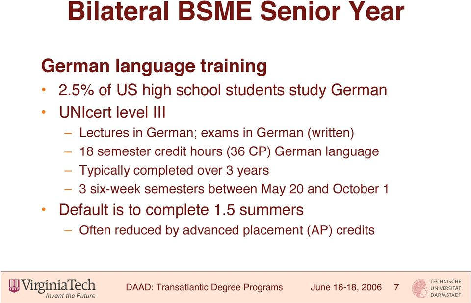 18 semester credit hours (36 CP) German language Typically completed over 3 years 3 six-week semesters