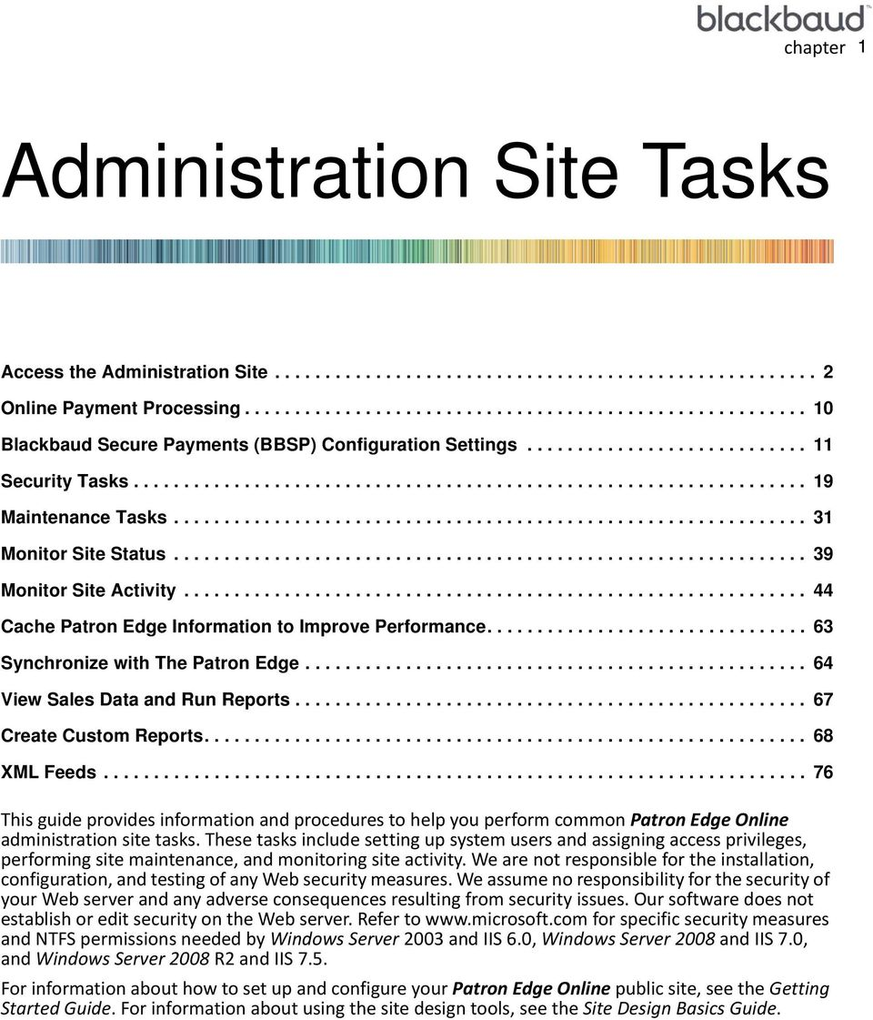 .............................................................. 31 Monitor Site Status............................................................... 39 Monitor Site Activity.