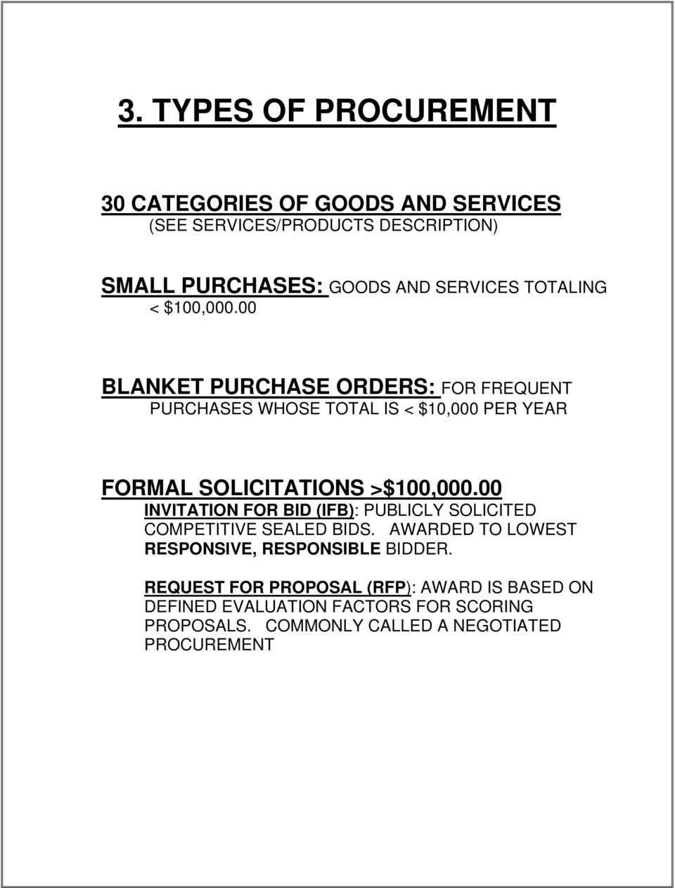 00 BLANKET PURCHASE ORDERS: FOR FREQUENT PURCHASES WHOSE TOTAL IS < $10,000 PER YEAR FORMAL SOLICITATIONS >$100,000.