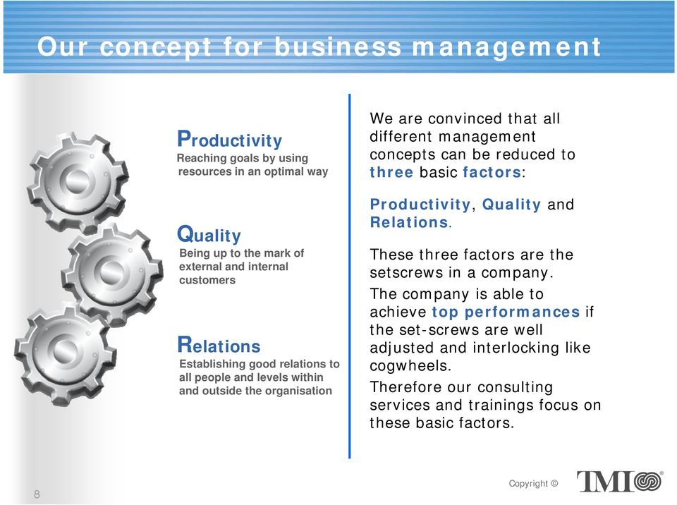 concepts can be reduced to three basic factors: Productivity, Quality and Relations. These three factors are the setscrews in a company.