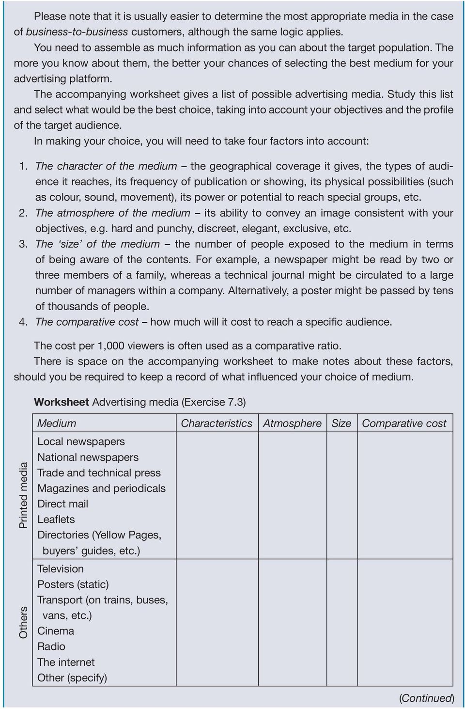 The accompanying worksheet gives a list of possible advertising media.