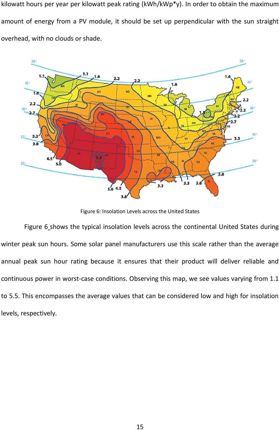 Figure 6: Insolation Levels across the United States Figure 6 shows the typical insolation levels across the continental United States during winter peak sun hours.