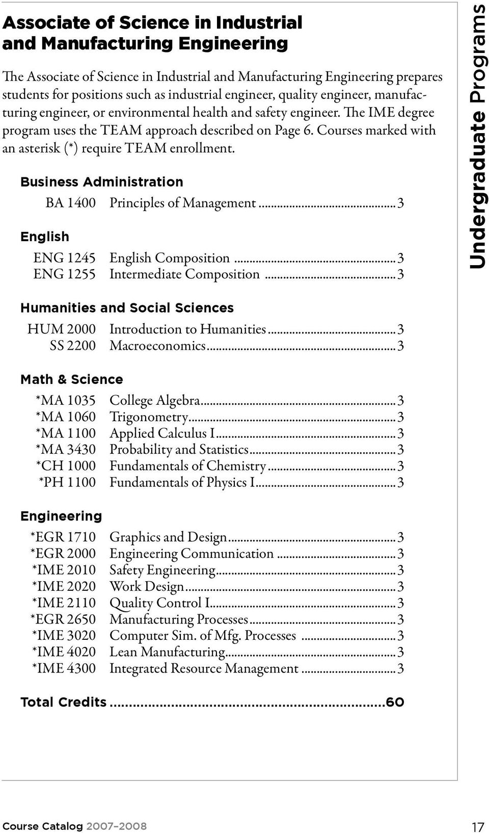 Courses marked with an asterisk (*) require TEAM enrollment. Business Administration BA 1400 Principles of Management...3 English ENG 1245 English Composition...3 ENG 1255 Intermediate Composition.