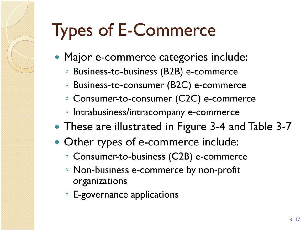 e-commerce These are illustrated in Figure 3-4 and Table 3-7 Other types of e-commerce include: