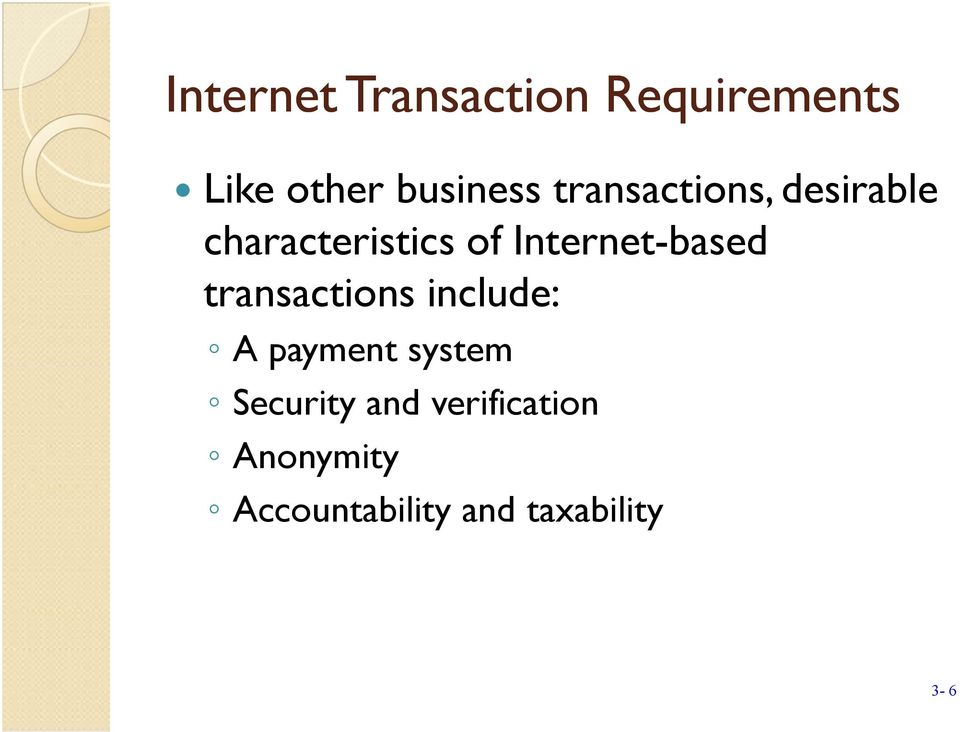 Internet-based transactions include: A payment system