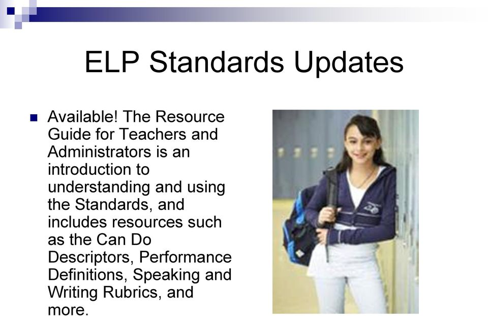 introduction to understanding and using the Standards, and