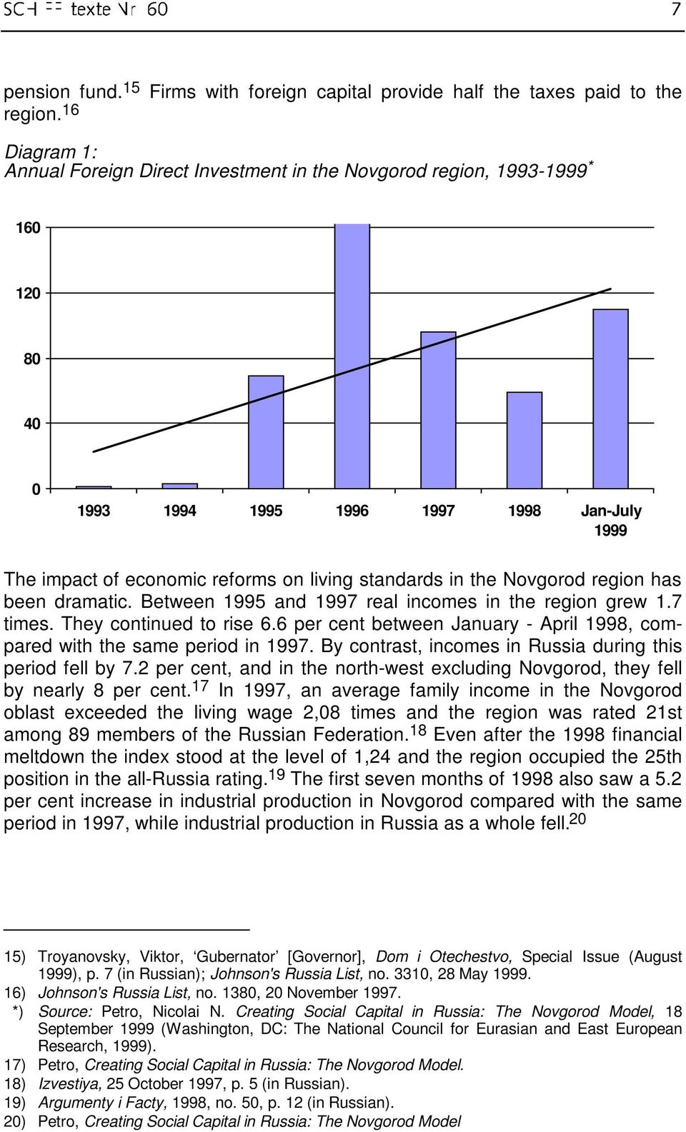 the Novgorod region has been dramatic. Between 1995 and 1997 real incomes in the region grew 1.7 times. They continued to rise 6.