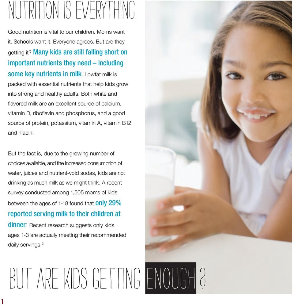 Lowfat milk is packed with essential nutrients that help kids grow into strong and healthy adults.