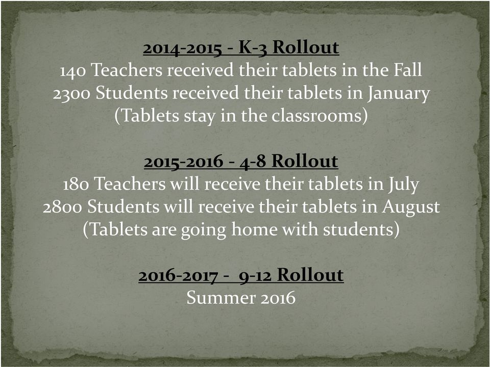 Rollout 180 Teachers will receive their tablets in July 2800 Students will receive