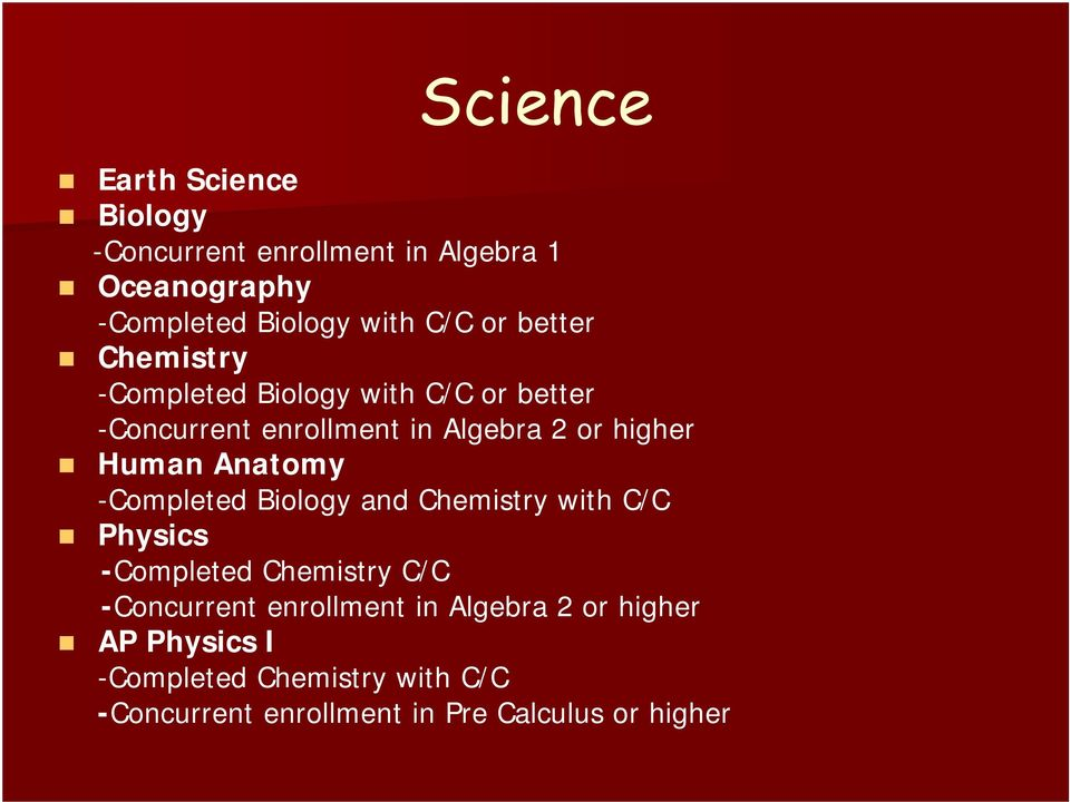 Anatomy -Completed Biology and Chemistry with C/C Physics -Completed Chemistry C/C -Concurrent enrollment in