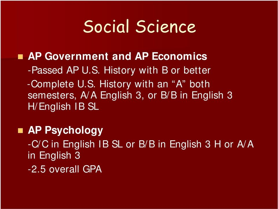 3 H/English IB SL AP Psychology -C/C in English IB SL or B/B in
