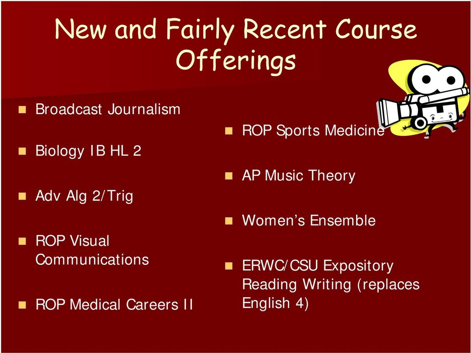 Medical Careers II ROP Sports Medicine AP Music Theory Women s