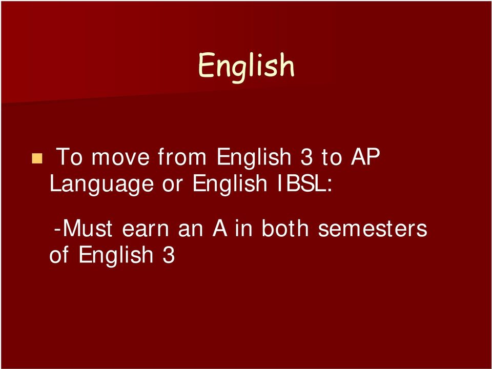 English IBSL: -Must earn an