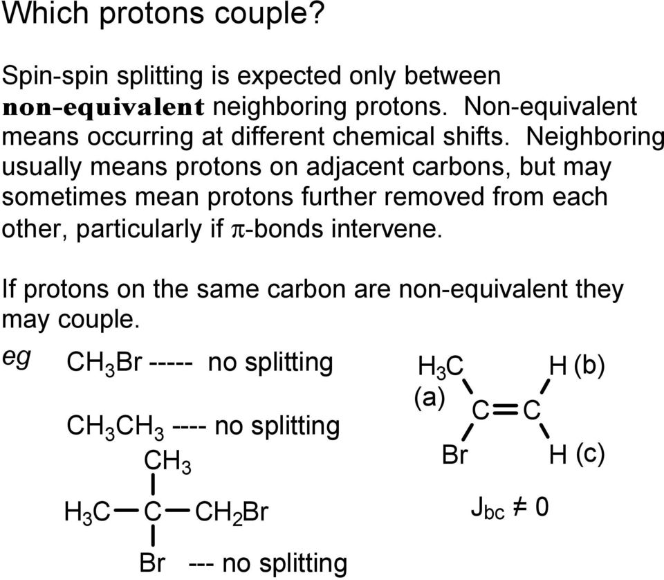 Neighboring usually means protons on adjacent carbons, but may sometimes mean protons further removed from each other,