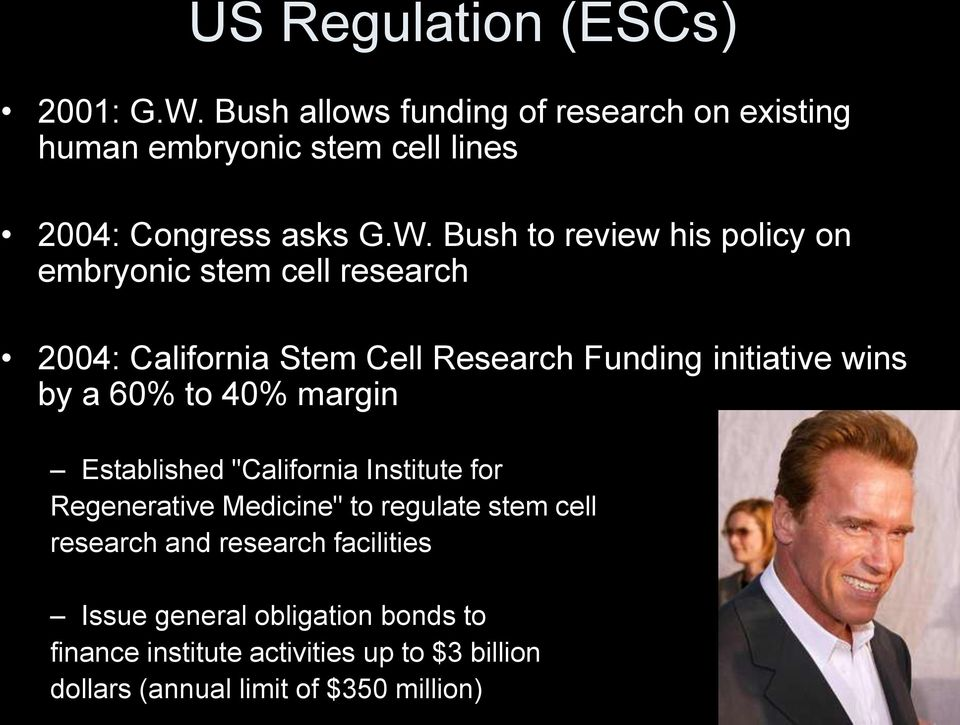 Bush to review his policy on embryonic stem cell research 2004: California Stem Cell Research Funding initiative wins by a 60%