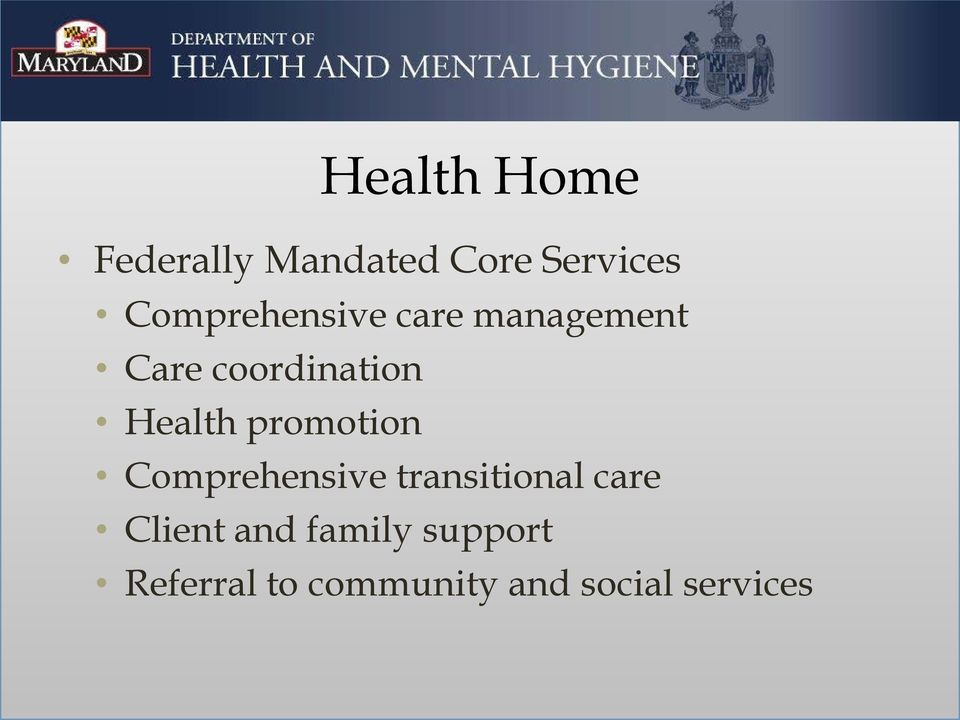 Health promotion Comprehensive transitional care