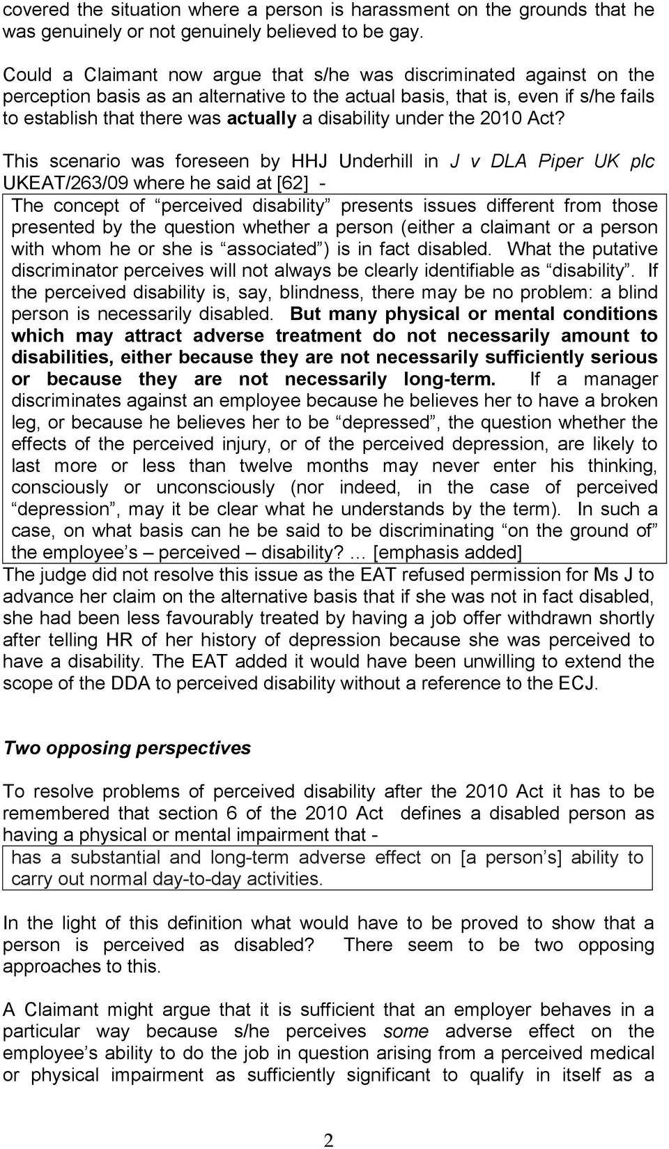 disability under the 2010 Act?