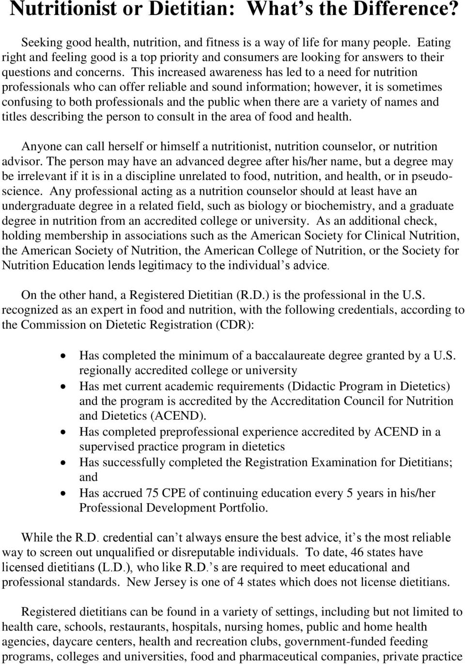 Student Manual  for  The Didactic Program in Dietetics