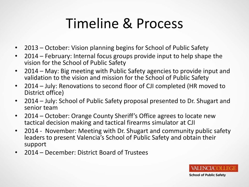 moved to District office) 2014 July: School of Public Safety proposal presented to Dr.