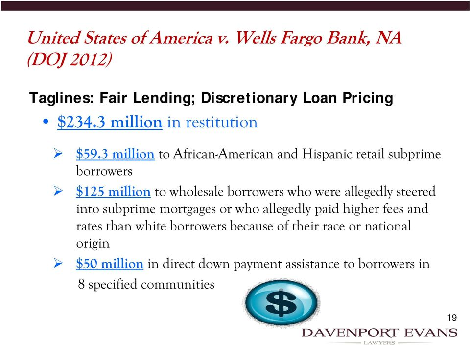 3 million to African-American and Hispanic retail subprime borrowers $125 million to wholesale borrowers who were allegedly