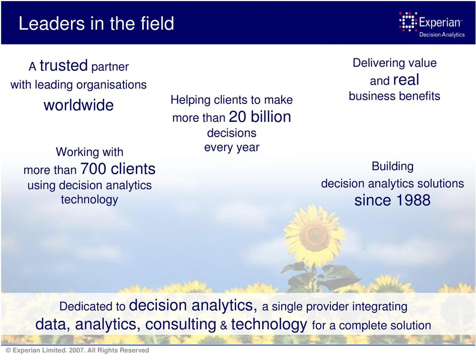 year Delivering value and real business benefits Building decision analytics solutions since 1988 Dedicated