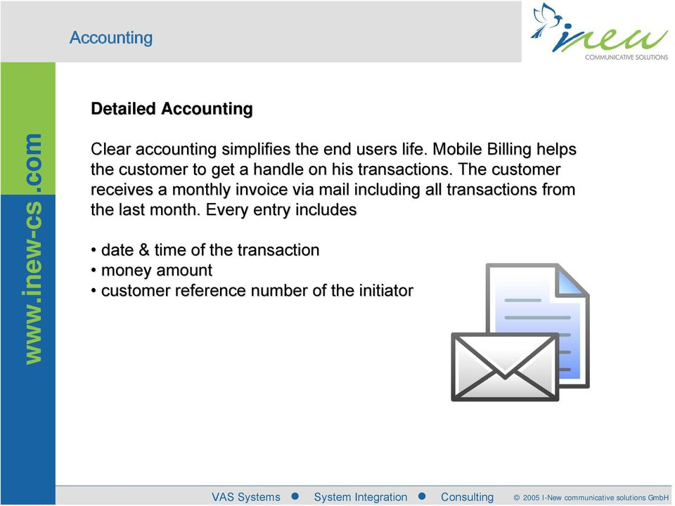 The customer receives a monthly invoice via mail including all transactions from f the