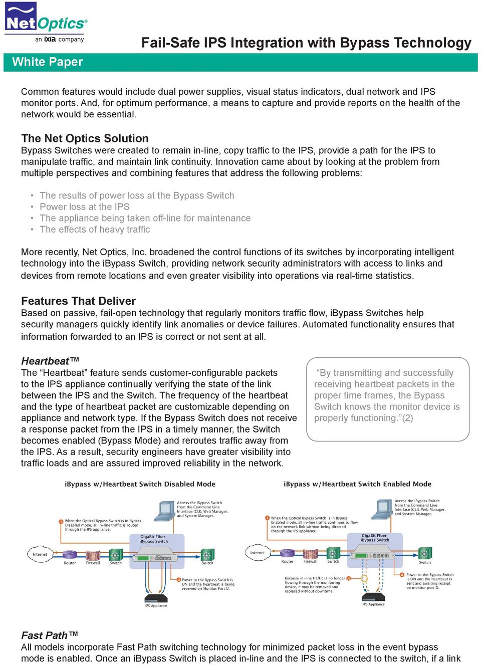 The Net Optics Solution Bypass Switches were created to remain in-line, copy traffic to the IPS, provide a path for the IPS to manipulate traffic, and maintain link continuity.