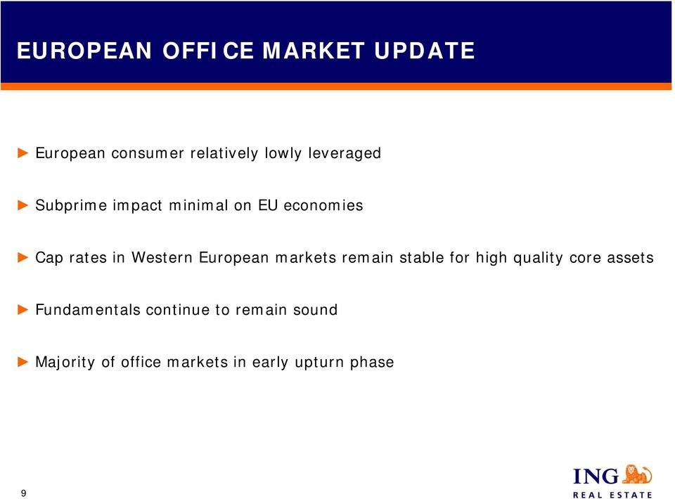 European markets remain stable for high quality core assets