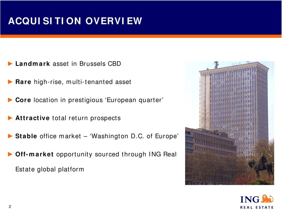 Attractive total return prospects Stable office market Washington D.C.