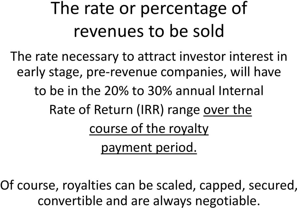 annual Internal Rate of Return (IRR) range over the course of the royalty payment