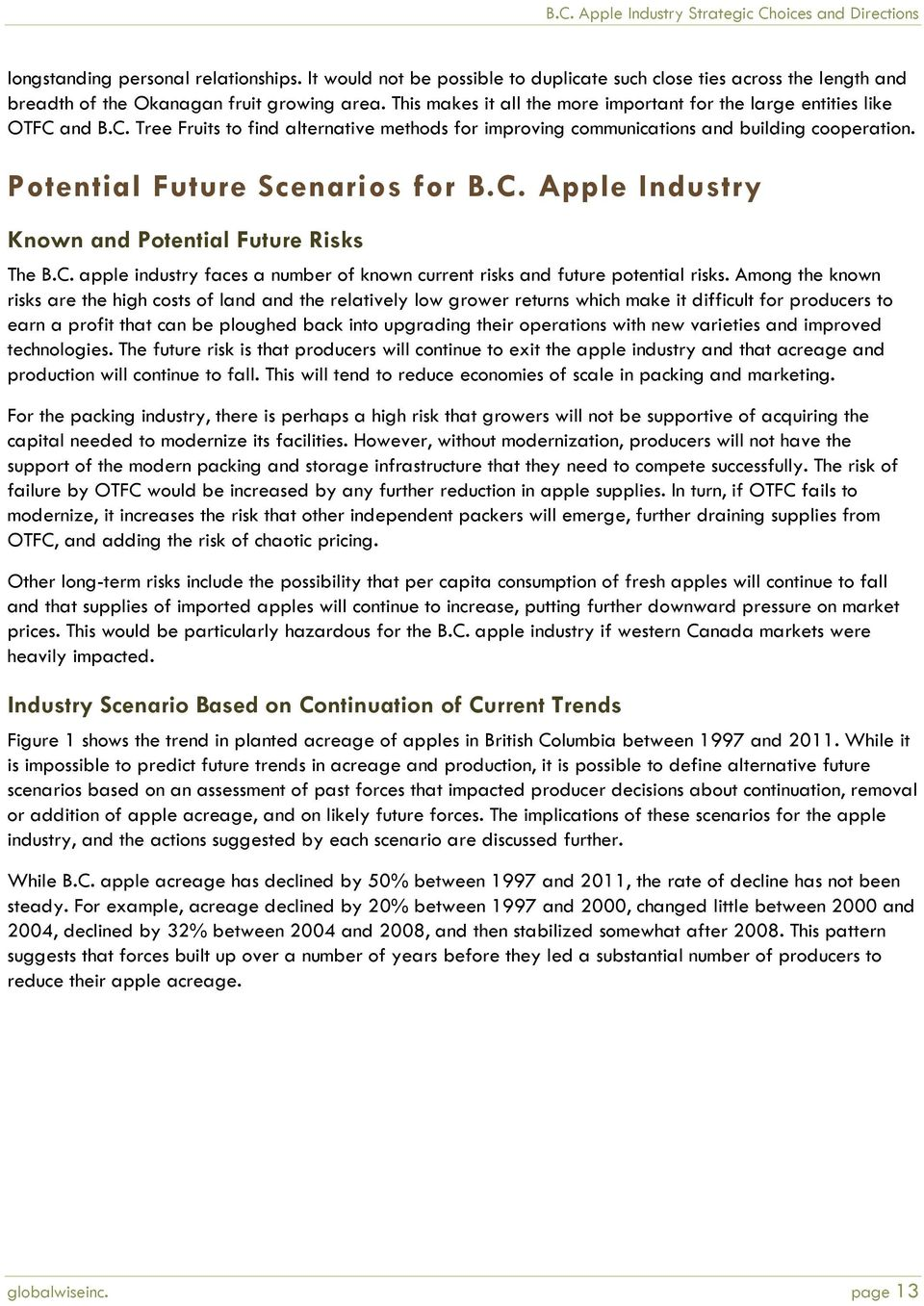 Potential Future Scenarios for B.C. Apple Industry Known and Potential Future Risks The B.C. apple industry faces a number of known current risks and future potential risks.