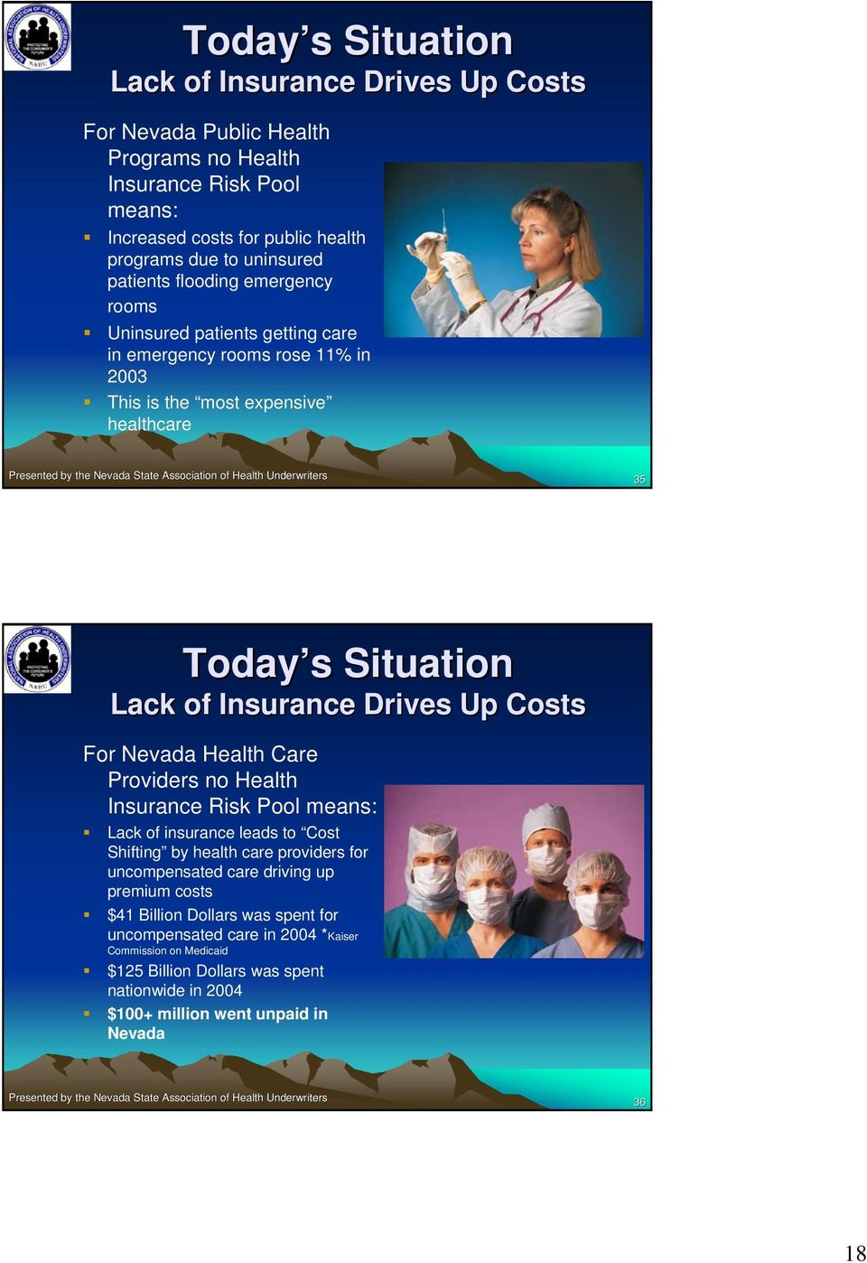 Up Costs For Nevada Health Care Providers no Health Insurance Risk Pool means: Lack of insurance leads to Cost Shifting by health care providers for uncompensated care driving up premium